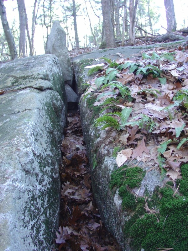 Bedrock Crevice with Standing Stone & Triangular Stone Underneath
