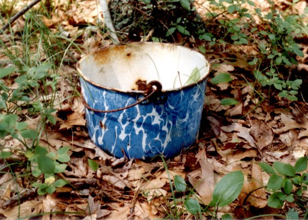 Enamel Pot at Native American Stone Structure Site
