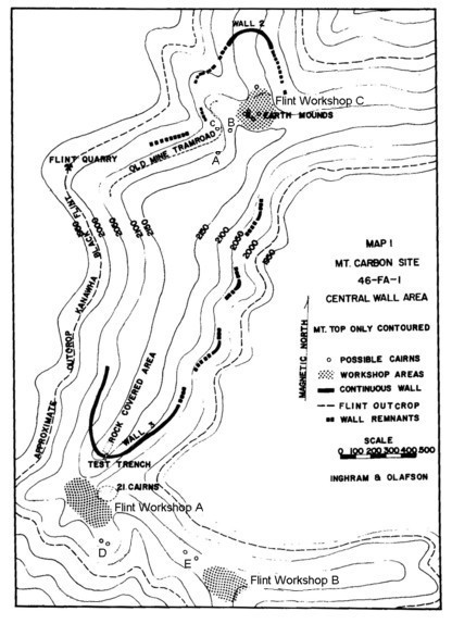 Map of Stone Walls Cairns Lithic Workshops Mount Carbon West Virginis