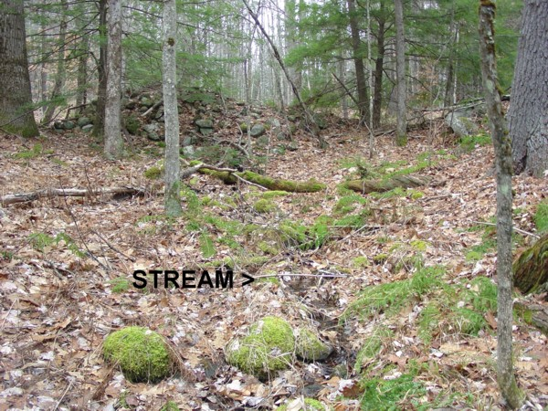 Northwood State Park NH Native American Stone Cairn Built over a Stream
