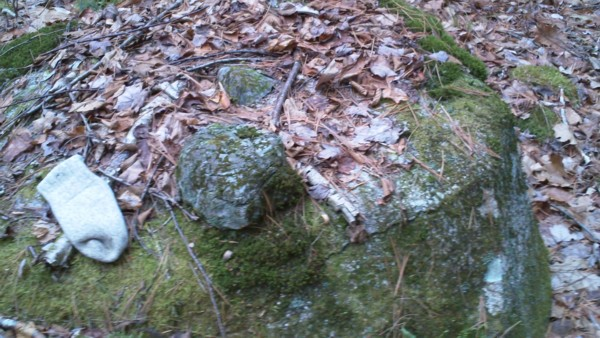 Northwood State Park NH Native American Stone Cairn on Boulder