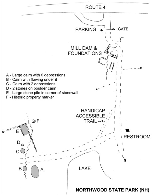 Northwood State Park NH - Mil Site and Cairn Site Map