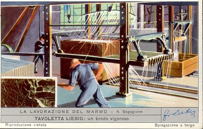 Sawing Stone - Italian Advertising Tradecard